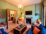 First Floor sitting room has double doors leading to the rear sitting room:  great for parties . . .