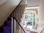 Staircase from First Floor landing - stairs down leading to conservatory/study