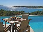 Lunch by the pool captivated by the view of the shimmering sea, St Marteen and Sandy Hill beach