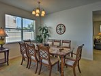 Enjoy your holiday meals at the 8-person dining table.