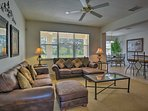 Relax on one of the 2 leather couches in the main living room.