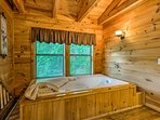The cabin even has an indoor tub!