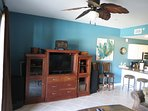 Great Entertainment unit with TV, DVD, and surround sound for movies or some beach tunez!