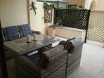 Patio beside the swimming pool area