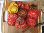 Our garden tomatoes ripen at once and guests can pick these tasty heirlooms.