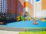 Playground, yard, garden.