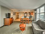 The condo offers over 1,100 square feet of living space.
