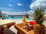 Pool area with 8 comfortable sun loungers