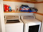 Full size washer/dryer with beach towels