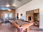 A pool table as you enter the cabin