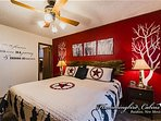 This bed features a custom headboard