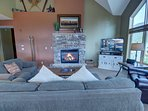 Fireplace and flat screen in the living room.