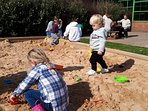 New sandpit and climbing frame being tried by my grandchildren