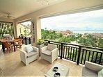 The private spacious balcony has amazing Ocean views.