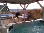 All weather canopy over the fabulous hot tub so that you can use it in all weathers.