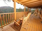 Rocking Chairs on Private Back Deck Overlooking Mountain View
