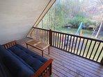 Upstairs Deck has a Full Futon Bed/Sofa for  adventurous! Sleep under the Stars!