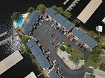 An aerial view of the buildings at Bay Point. Smaller complex with only 76 units.