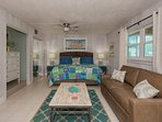 1st level studio with king sized bed, sleeper sofa, ocean view and large closet space in the sleeping and living area.