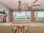 Sitting area with 2 recliners and fabulous view of the ocean.