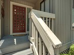 Front door with keyless entry lock system