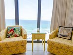 Cozy, private Master Suite nook for enjoying the ocean view in comfy swivel chairs. Wonderful for morning coffee or...