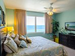 Spacious Gulf View master suite, with gorgeous views!  Enjoy the ocean view right from your luxurious King Sized bed.