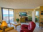 Another view of Sunbird 208W's open floor plan great room.  And the OCEAN!