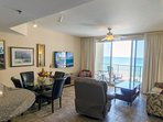 Sunset Lagoon's beautiful view of the Gulf from the Kitchen, dining, and living room!  Shores of Panama 817 in...
