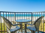 Relax outside on the balcony and watch the waves!  Enjoy morning coffee, al fresco lunch and romantic dinners on the...