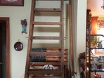 Loft stairs to full size bed
