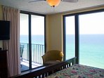 The Mermaid Suite also has a sliding door to the balcony and a 27' Flat Screen TV and DVD.  Have a seat in the corner...