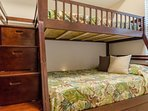 The Crew's Quarters bedroom is great for the kids with a twin over full bunk bed.