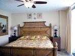 The South Seas Master Suite has a tropically inspired king bed with luxury linens and a memory foam mattress topper.