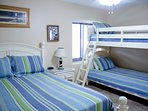 The queen bed and bunk bed set in the Crew's Quarters are great for the young at heart.