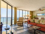 The great room and kitchen both have expansive views of the Gulf of Mexico