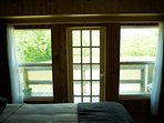 This is the view of the pond from the bedroom. There are sheers and room darkening panels as well.