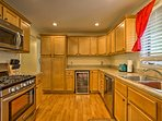 The kitchen boasts stainless steel appliances.
