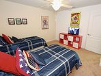 Upstairs 'Super Hero' Twin Bedroom w/Two Twin Beds & Flat Screen TV - View #2