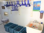 Gear room; safely storing your dive/snorkel gear at night, just steps from your private parking.