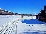 Cross country ski tracks - 'Ski inn, Ski out'.