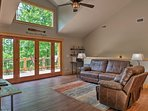This 1-bedroom, 1-bath cabin in Ellijay is the ideal getaway for a small family.