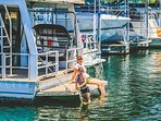 Dip your Toes in the Lake off the Houseboats Stern to Cool off