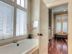 2nd floor master bathroom with large tub