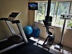 gym (treadmill, rowing machine, TV screen w/Chromecast)