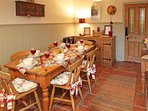 The dining area is perfect for a meal in together