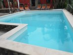 The Pool is m.5,50 x m.10 with two depths: m.1 and m.2,20! Side the Pool there is also a Jacuzzi!