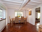 Dining room,spacious,bright and ideal for a fine dinner party.