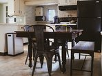 Farmhouse kitchen table, we offer leaf inserts to extend size along with two more chairs.