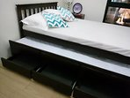 A pull out double bed which can sleeps 4 persons if you tag your friends along.
